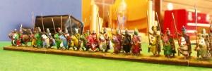 Eine Linie portugiesischer Ritter, bereit zur Attacke